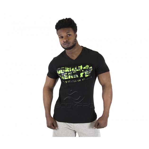Gorilla Wear Футболка Sacramento V-Neck T-Shirt Black/Lime N...