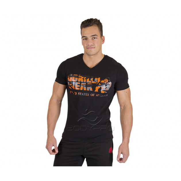 Gorilla Wear Футболка Sacramento V-Neck T-Shirt Black/Neon O...