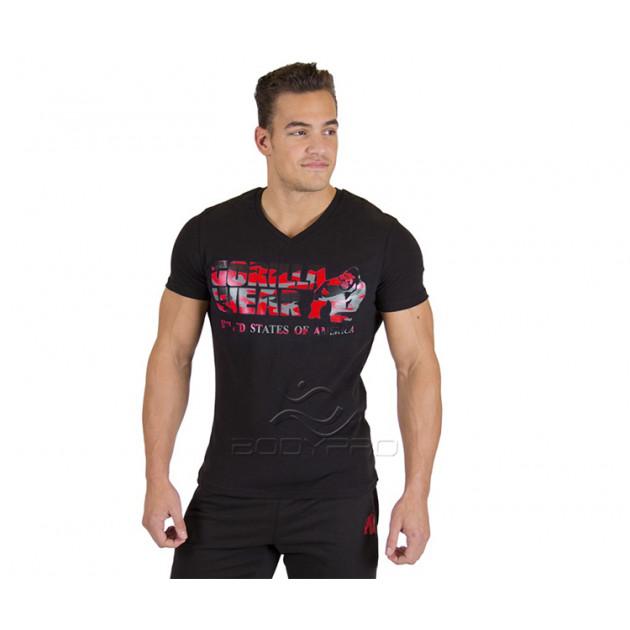 Gorilla Wear Футболка Sacramento V-Neck T-Shirt Black/Red