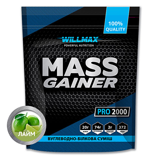 Гейнер Willmax Mass Gainer Pro 2000 г Лайм
