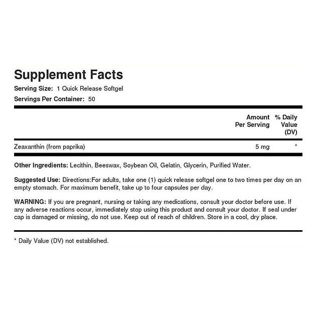 Растительный экстракт PipingRock Zeaxanthin 5 mg 50 капс-1