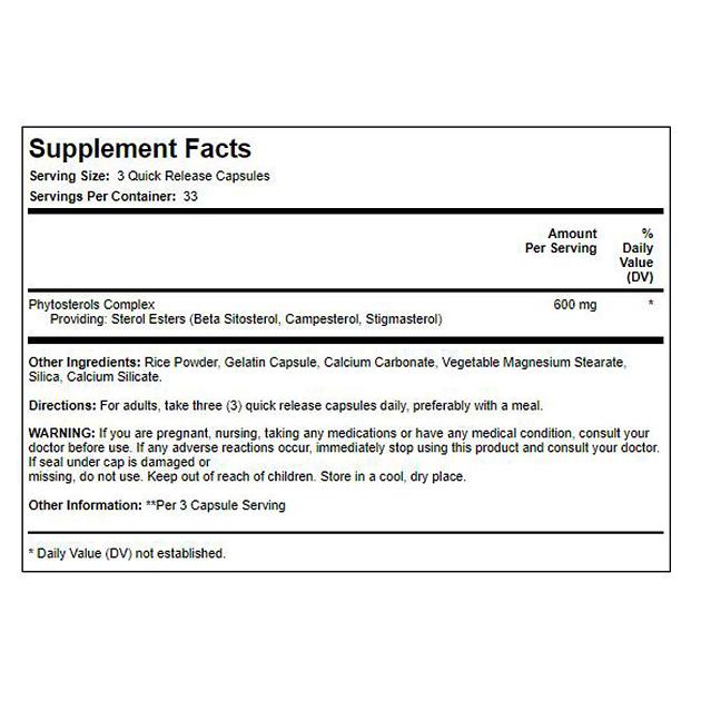 Растительный экстракт  PipingRock Plant Sterols 600 мг 100 капс-1